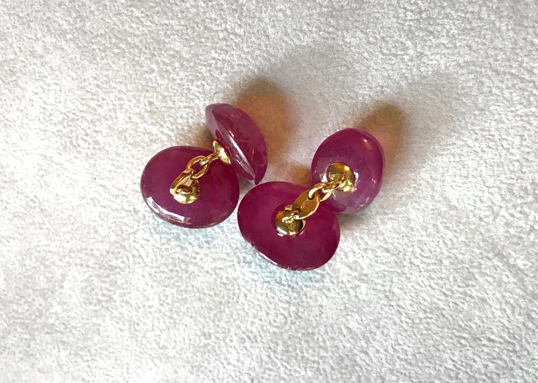 Women's or Men's 18 Karat Yellow Gold Double Hand Carved Oval Ruby Diamonds Cufflinks For Sale