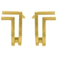 18-Karat Yellow Gold Double Lines Curve Fine Earrings