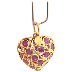 18 Karat Yellow Gold Double Sided Heart Charm / Pendant Ruby and Sapphire