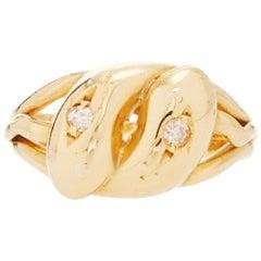 18 Karat Yellow Gold Double Snake Ring with Old European Cut Diamonds