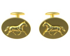 18 Karat Yellow Gold Dressage Horse Cufflinks