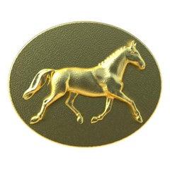 18 Karat Yellow Gold Dressage Horse Cufflinks