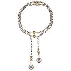18 Karat Yellow Gold Drop Blue Sapphires Pendant Chain Necklace by Elie Top