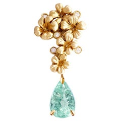 18 Karat Yellow Gold Drop Brooch with Diamonds and Paraiba Tourmaline