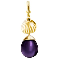 18 Karat Yellow Gold Drop Pendant Necklace with Amethyst by the Artist