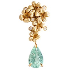 18 Karat Yellow Gold Drop Pendant Necklace with Diamonds and Paraiba Tourmaline