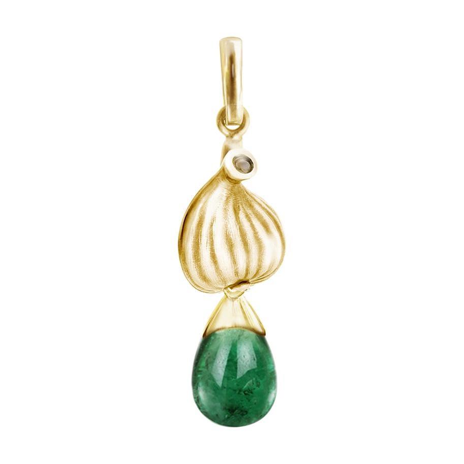 18 Karat Yellow Gold Drop Pendant Necklace with Natural Emerald and Diamond
