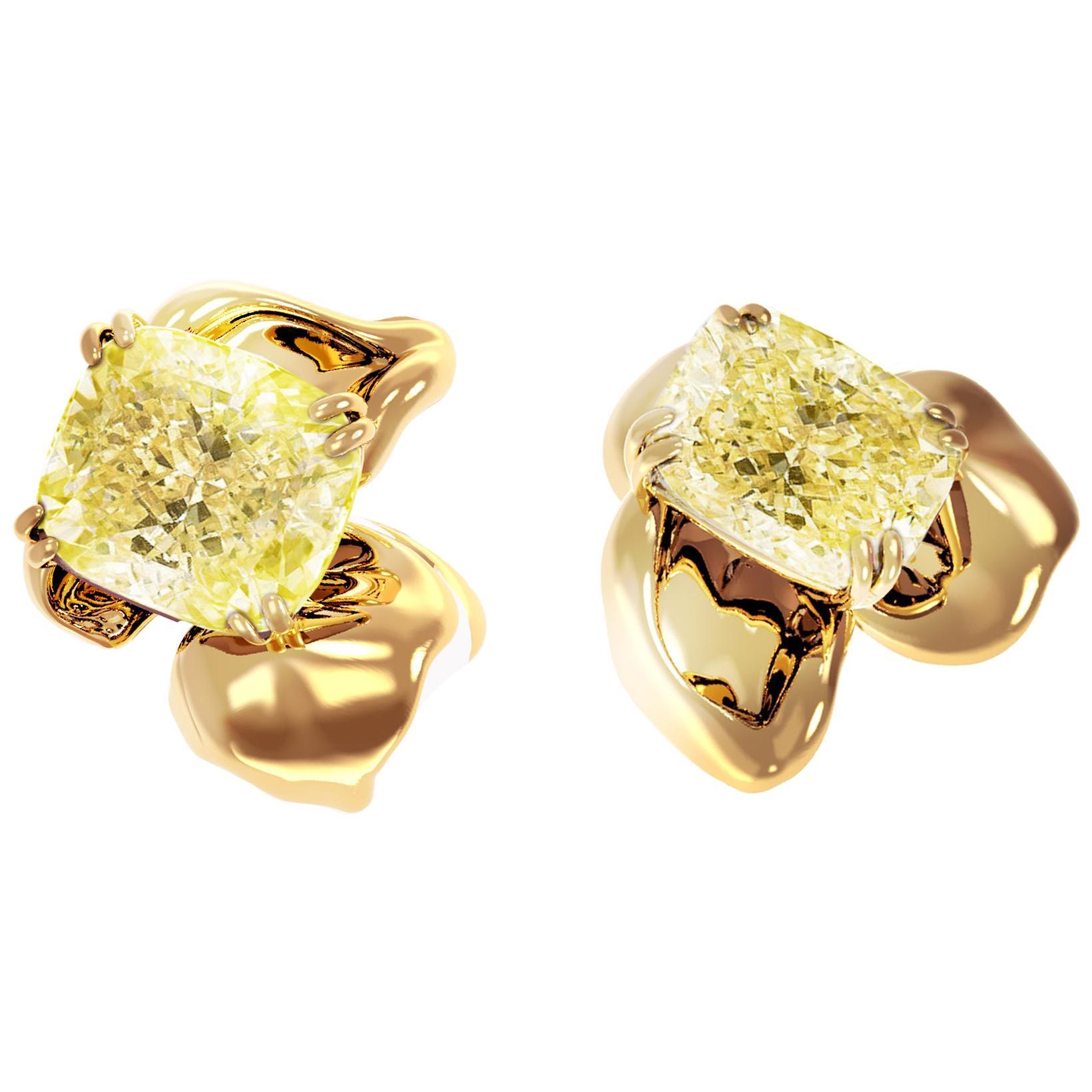 18 Karat Yellow Gold Earrings with 2 Carat GIA Certified Fancy Yellow Diamonds
