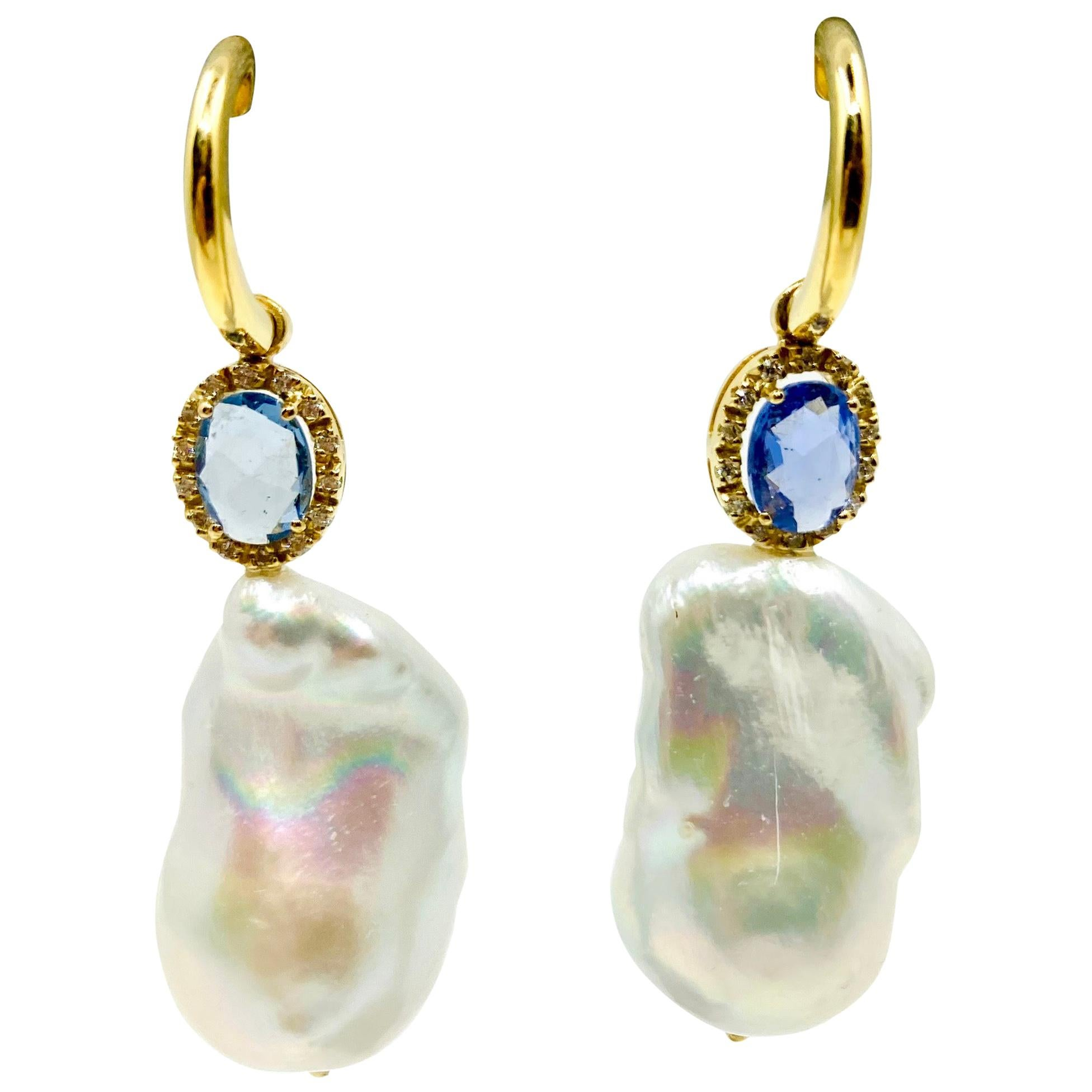 18 Karat Yellow Gold Baroque Pearls, Sapphires and Diamonds Italian earrings
