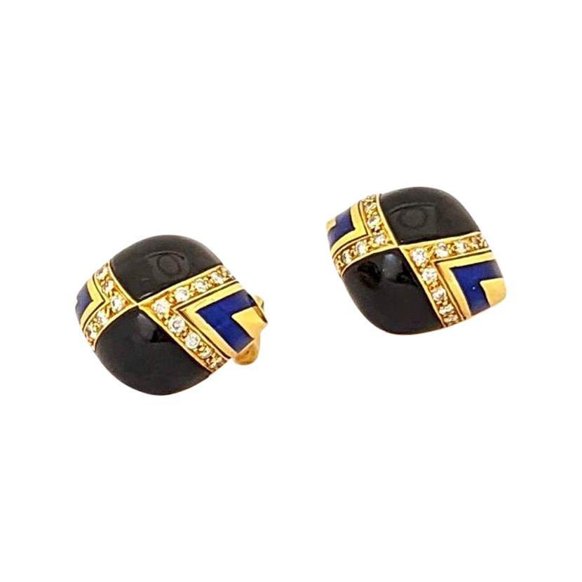 18 Karat Yellow Gold Earrings with Diamonds, Black Onyx, and Blue Enamel