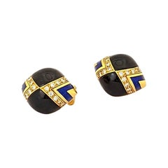 18 Karat Yellow Gold Earrings with Diamonds, Black Onyx, and Blue Enamel