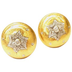 18 Karat Yellow Gold Earrings with Engraved Snowflake Design and Diamond Centers