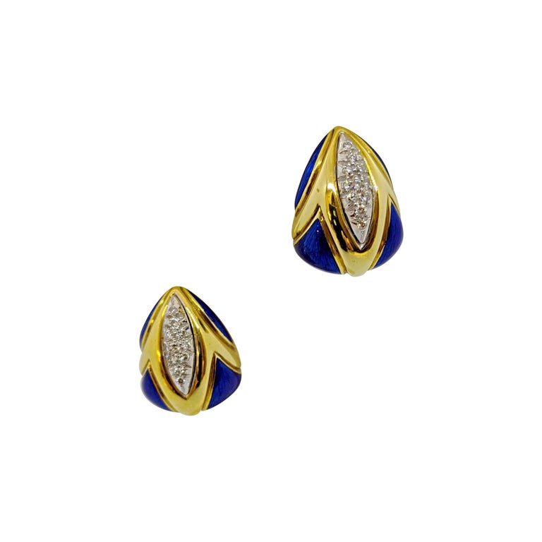 18 Karat Yellow Gold Earrings with Lapis and .45 Carat Diamonds For Sale