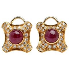 18 Karat Yellow Gold Earrings with Rubelite and 1.35 Carat of White Diamonds