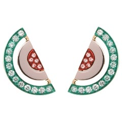 18 Karat Yellow Gold Earrings with White Diamonds