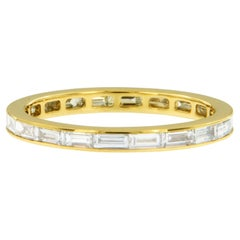 18 Karat Yellow Gold East, West Style Baguette Diamond Eternity Band Ring