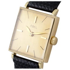 18 Karat Yellow Gold Ebel Women's Hand-Winding Watch with Leather Band