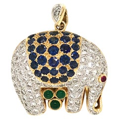 18 Karat Yellow Gold Elephant with Diamond and Sapphire Pin / Pendant