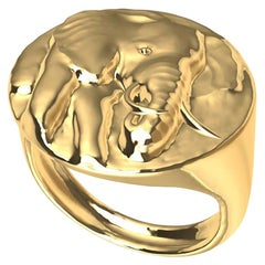 18 Karat Yellow Gold Elephant with Tusks Signet Ring