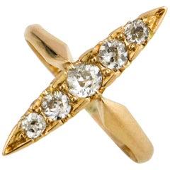 18 Karat Yellow Gold Elongated Antique Diamond Ring