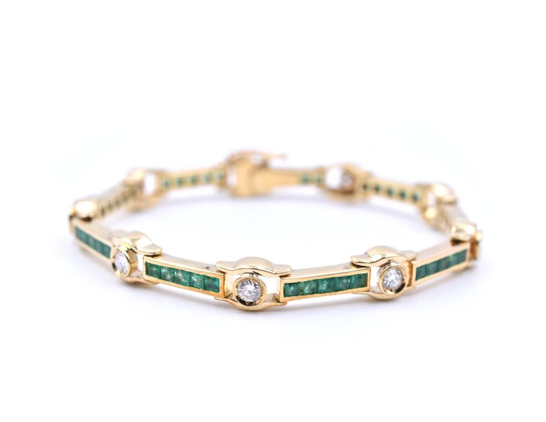 Designer: custom design Material: 18k white gold Emerald: 45 emeralds= 2.70cttw Diamonds: 9 round brilliant= 1.80cttw Color: G Clarity: VS Dimensions: bracelet is approximately 7 ¼-inch long and 7.52mm wide Weight:  31 grams