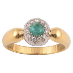 18 Karat Yellow Gold Emerald and Diamond Cluster Ring