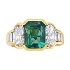 18 Karat Yellow Gold Emerald and Diamond Cocktail Ring