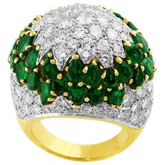 18 Karat Yellow Gold Emerald and Diamond Cocktail Ring