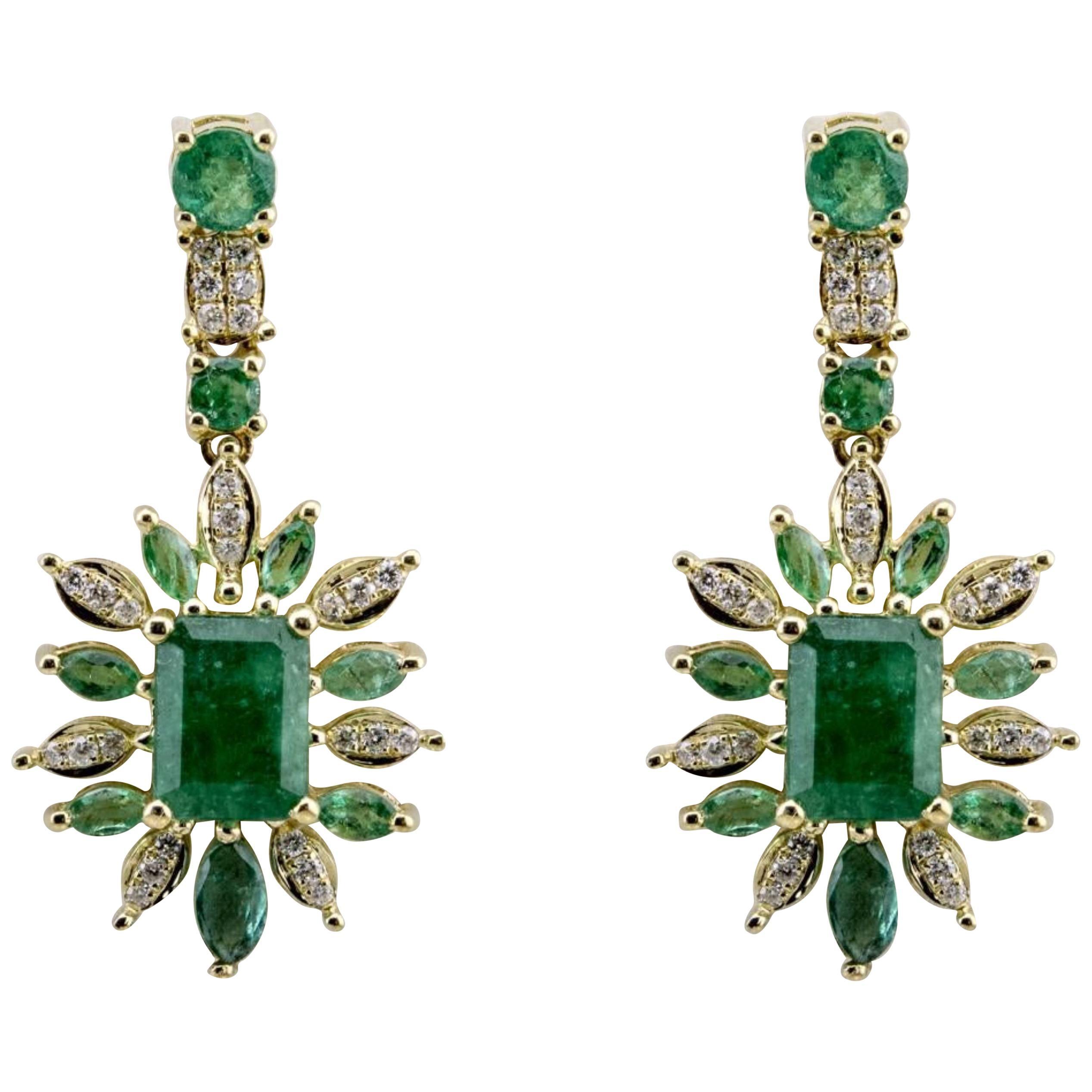 Art Nouveau Pearl Hoop Bird Earrings Flowers Gold Drop Statement Modern