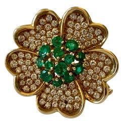 18 Karat Yellow Gold Emerald and Diamond Flower Brooch/Pendant
