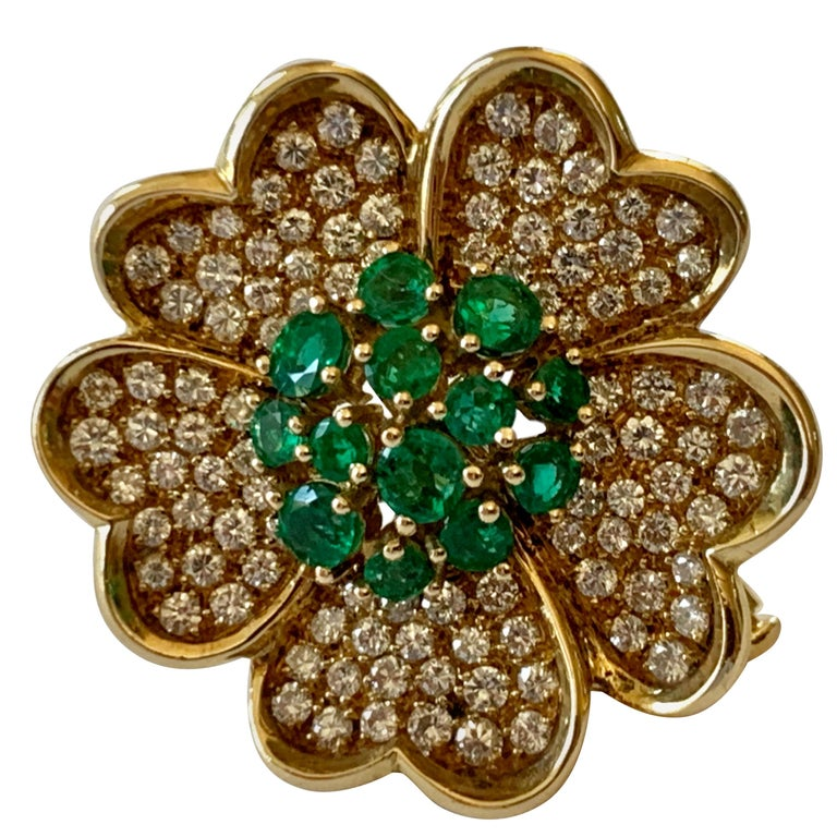 18 Karat Yellow Gold Emerald and Diamond Flower Brooch/Pendant For Sale