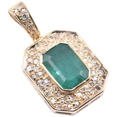 18 Karat Yellow Gold Emerald and Diamond Pendant
