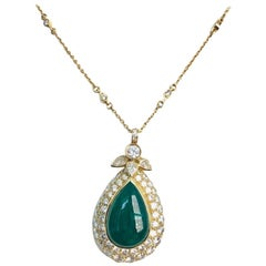 18 Karat Yellow Gold Emerald and Diamond Pendant/Necklace