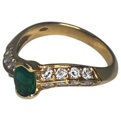 18 Karat Yellow Gold Emerald and Diamond Ring by Armand Jacoby/Celebrity