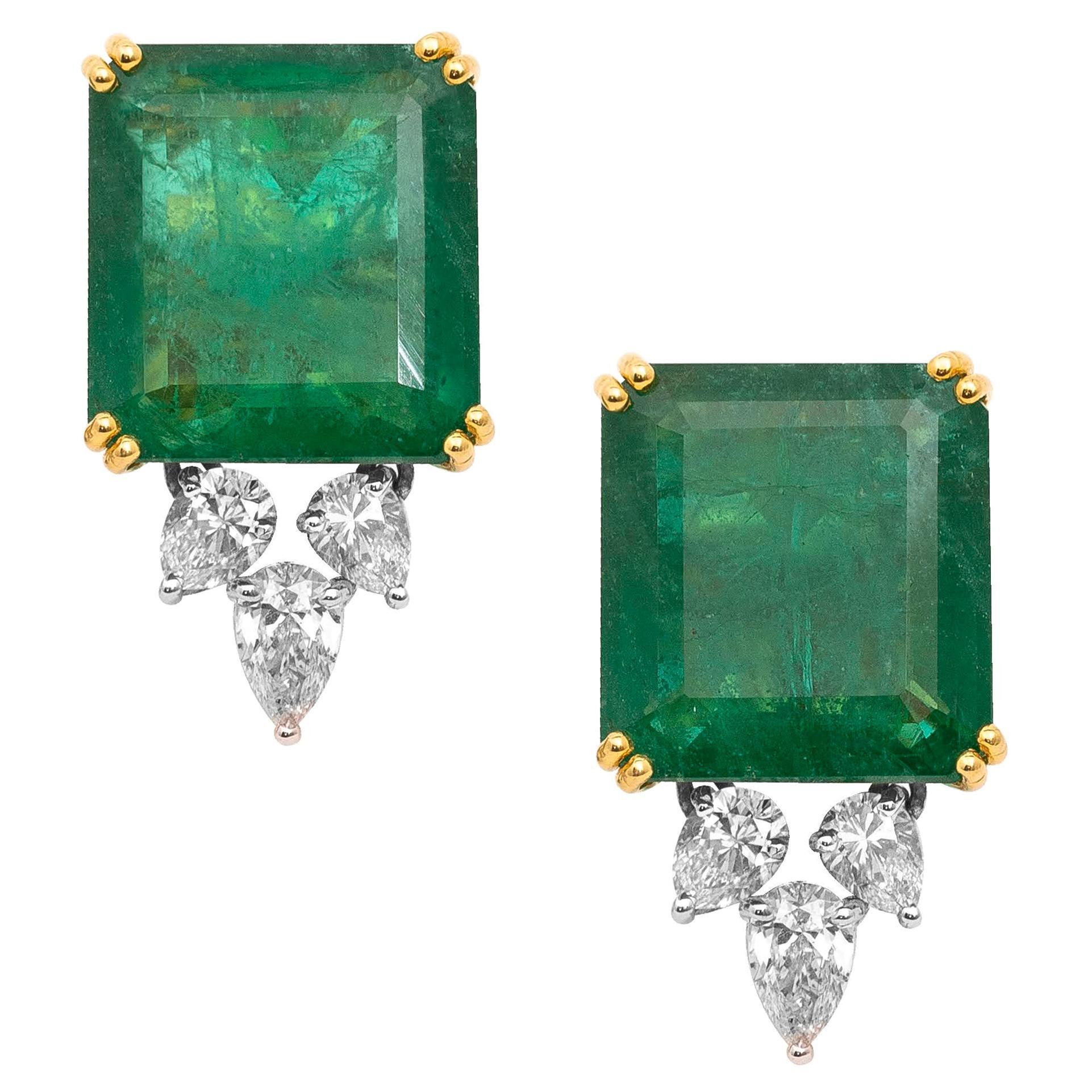 18 Karat Yellow Gold Emerald and Diamond Stud Earrings