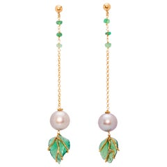 "Ugolini 18 Karat Yellow Gold Emerald and Green Agate Ugolini ""Leaves"" Earrings"