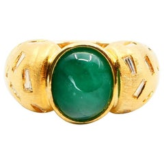 18 Karat Yellow Gold Emerald and Tapered Baguette Diamond Cocktail Ring