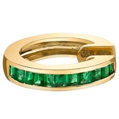 18 Karat Yellow Gold, Emerald Baguette Earcuff
