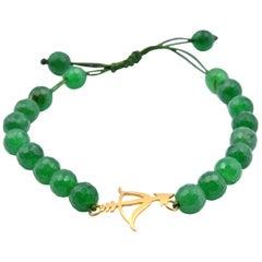 18 Karat Yellow Gold Emerald Bead Spiritual Cupid Boho Bracelet
