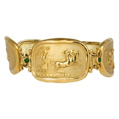 18 Karat Yellow Gold Emerald Bracelet by Seiden Gang SeidenGang