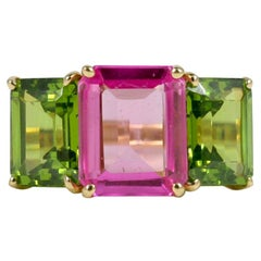 18 Karat Yellow Gold Emerald Cut Ring with Pink Topaz and Peridot