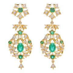18 Karat Yellow Gold Emerald Diamond Dangle Earrings