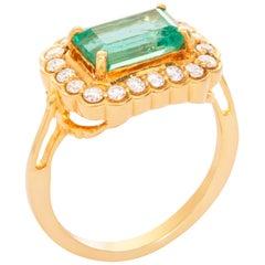 18 Karat Yellow Gold Emerald Diamond Ring