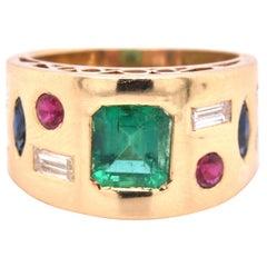18 Karat Yellow Gold Emerald, Diamond, Ruby, and Sapphire Cigar Band