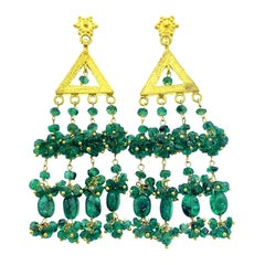 18 Karat Yellow Gold Emerald Earrings