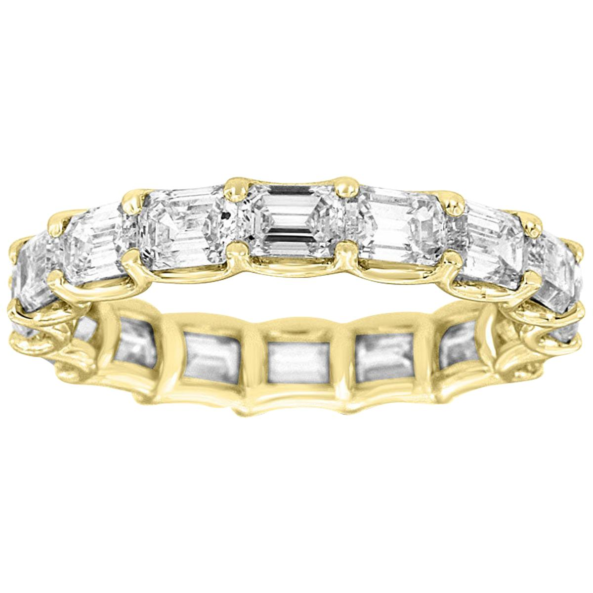 18 Karat Yellow Gold Emerald Eternity Diamond Ring '3 3/4 Carat'