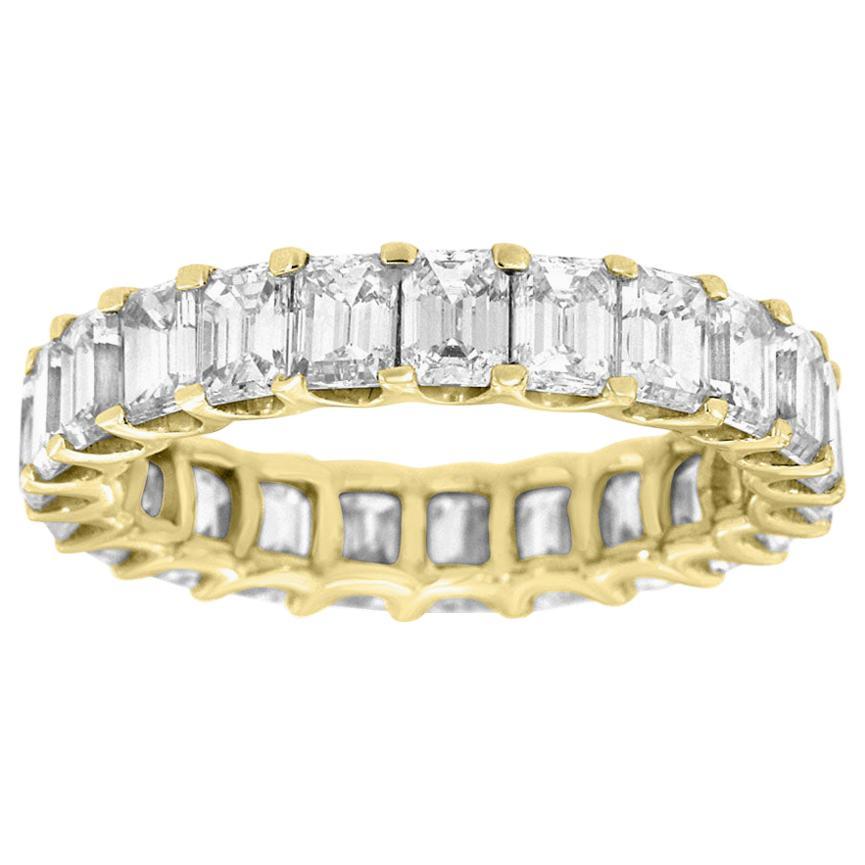 18 Karat Yellow Gold Emerald Eternity Diamond Ring '4 1/2 Carat'