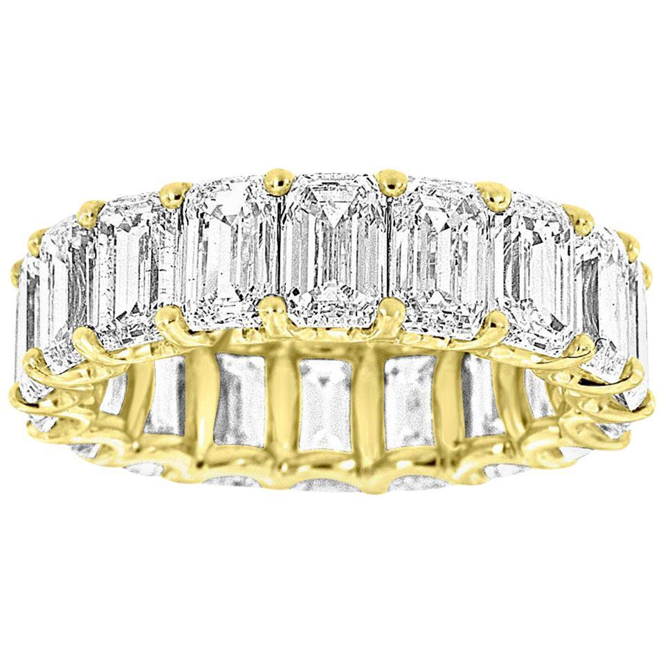 18 Karat Yellow Gold Emerald Eternity Diamond Ring '9 1/2 Carat'
