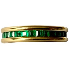 18 Karat Yellow Gold Emerald Eternity Ring