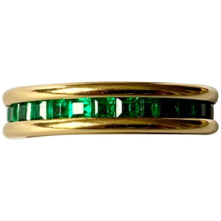 18 Karat Yellow Gold Emerald Eternity Ring
